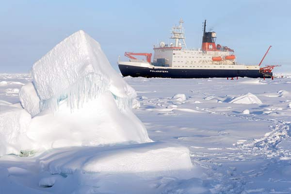 The German research vessel Polarstern in the central Arctic.