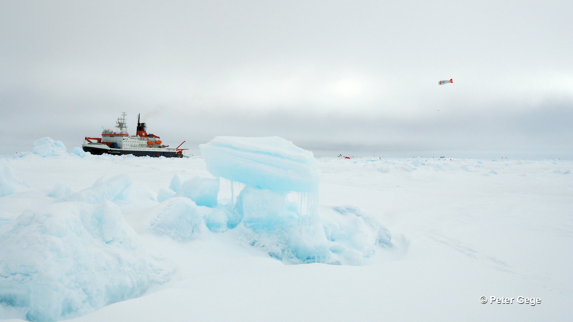 The German research vessel Polarstern and the ice camp during PASCAL 2017.