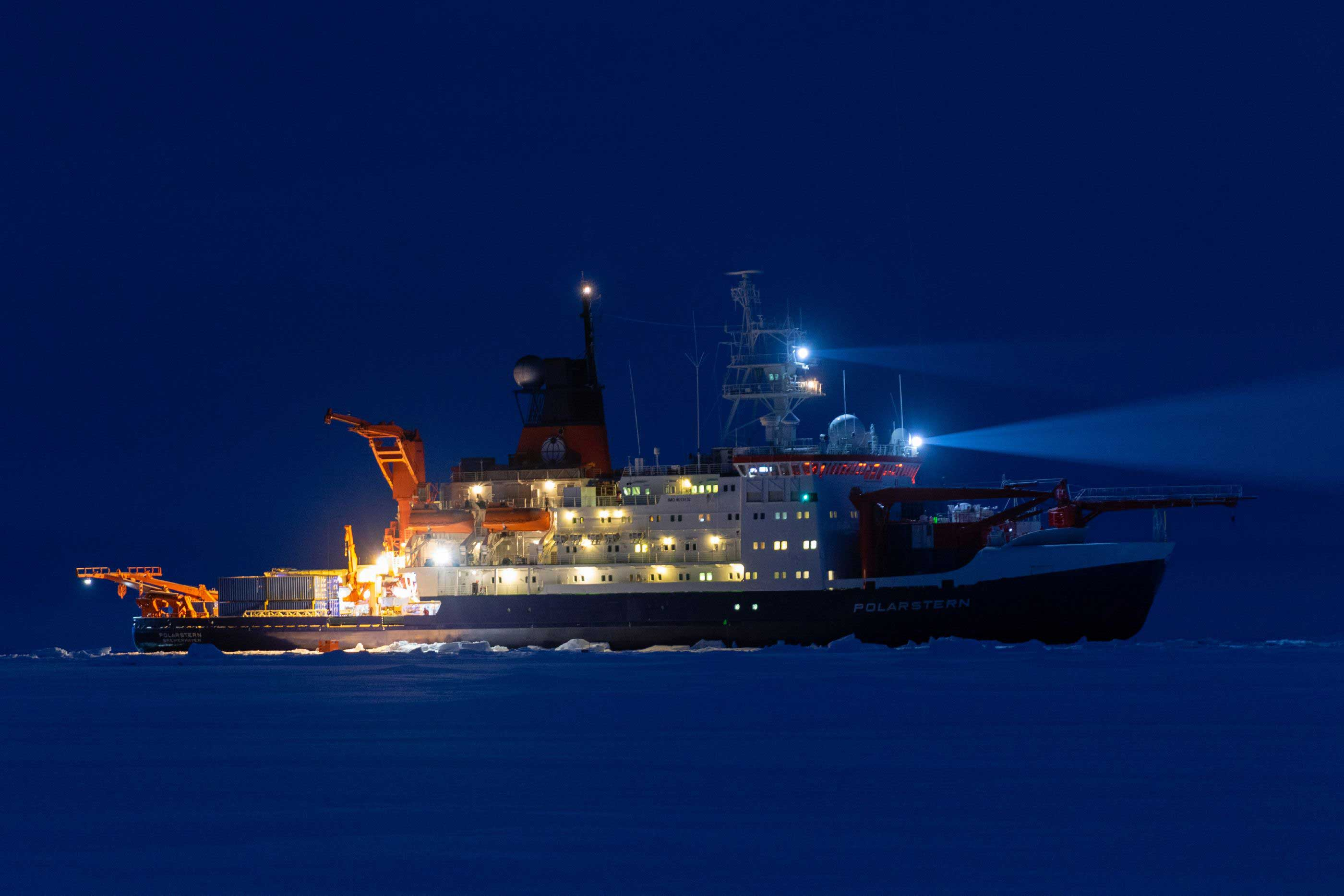 RV Polarstern during MOSAiC. Photo by Marcel Nicolaus, AWI.