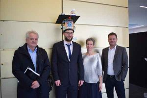 Sandro Dahlke (AWI-Potsdam) after his PhD defense with his supervisors and reviewers.