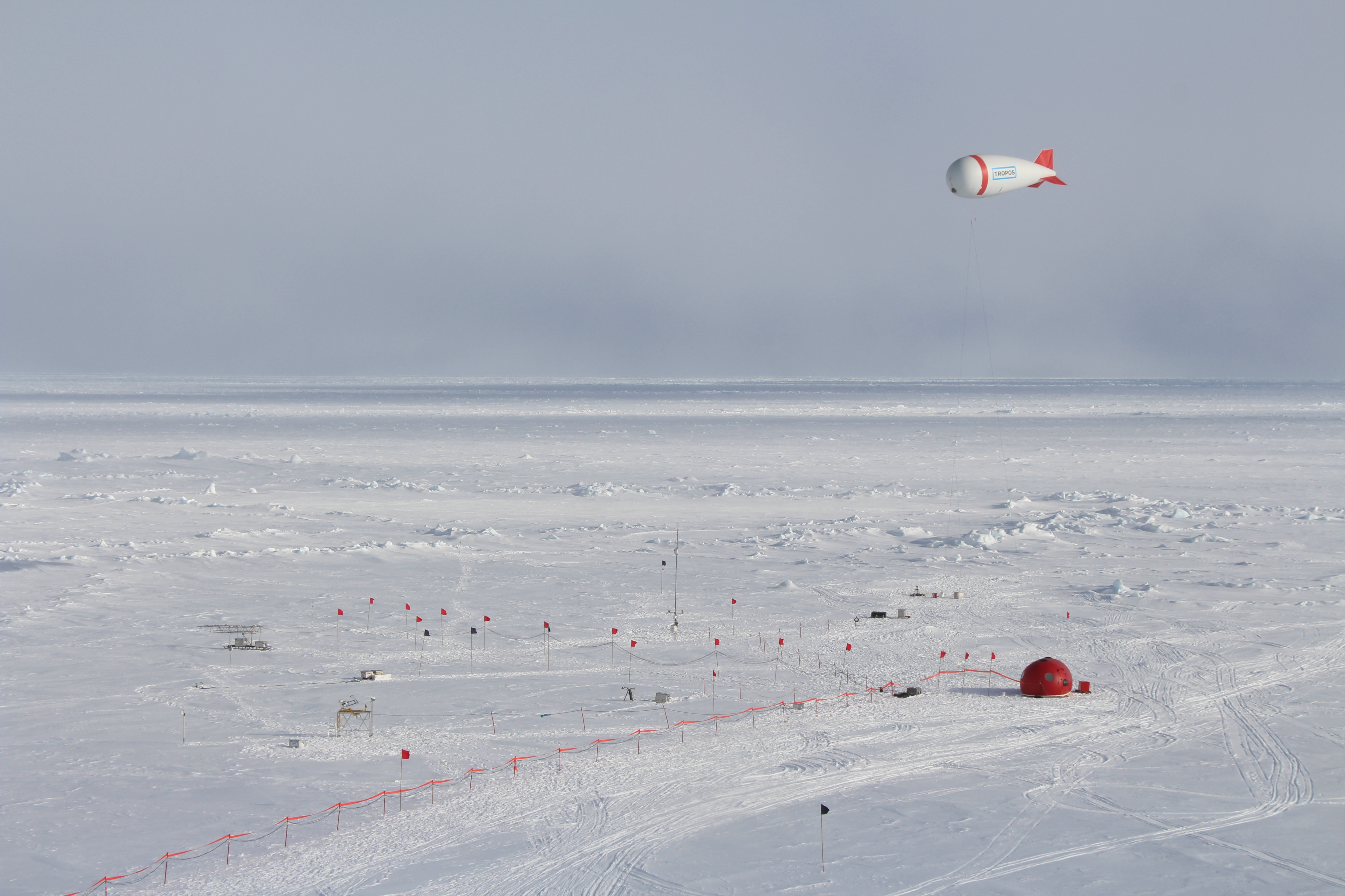 Meteorological station including tethered balloon at the ice camp during PASCAL.